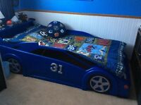 Twin custom car bed and mattress and sheets