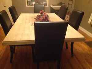 High end solid marble table and 6 chairs