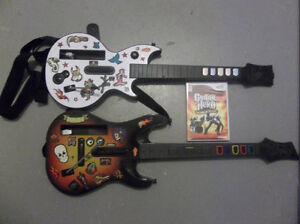 Guitar Hero World Tour Wii Game and Two Guitars