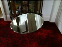 Vintage Art Deco Bevelled oval mirror