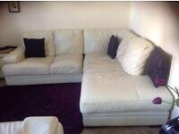 L-Shaped Leather Corner Sofa   Ivory white   Beautiful