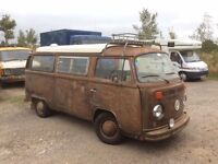 VW Camper van T2 Bay Window Pop Top Twin Carb Running Project 90% finished