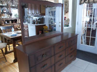 Wood dresser with nine drawers and mirror
