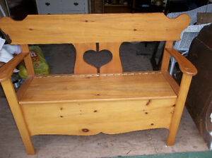 Solid wood pine bench