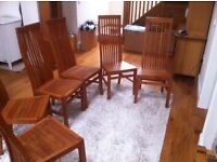 Set Of 6 Solid Wood Dining Chairs
