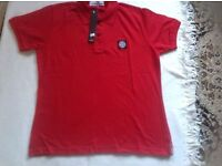 Stone island mens polo t shirt short sleeves red colour size: XL £10