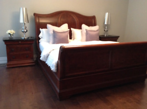 Solid oak/marble 6 piece king bedroom set