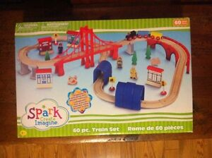 Brand new in box wooden train set London Ontario image 1
