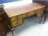 Walnut dresser / leather top / Queen Anne legs