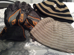 Volcom gloves, beanie hat and American eagle hat
