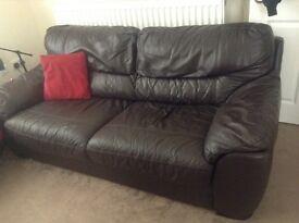 Three seater DFS leather sofa