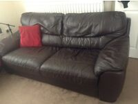 Three seater DFS leather sofa