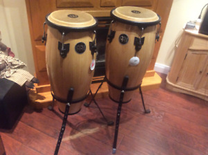 "Two Meinl Conga Drums (10"" and 11"") with stands"