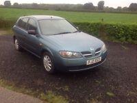 2003 Nissan Almera 1.5 S blue 5 door very low miles 40.000 motd April 17
