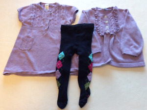 Gap Sweater Dress, Cardigan and Tights Set (6-12 months)