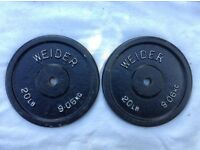2 x 20lb (9kg) Weider v1 Standard Cast Iron Weights