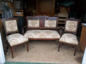 Antique solid wood love seat with two chairs