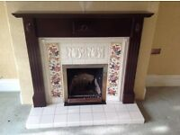 Mahogany fire surround and tiled insert