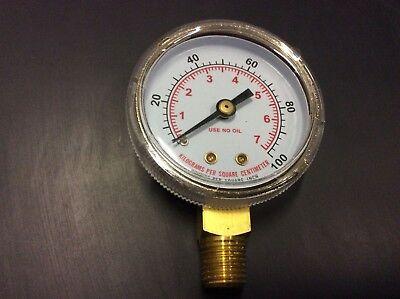 2 Welding Gauge 0-100 Psi 14 Npt Oxygen