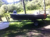 Great 12ft boat with new motor and newer trailer