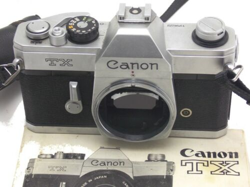 Vintage Canon TX SLR 35mm Camera Body With Original Manual Made in Japan Used