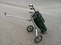 Spalding golf clubs and cart