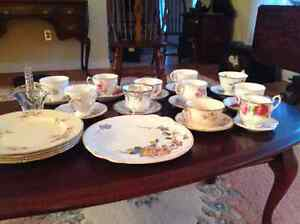 Teacups with saucers, and various dishes