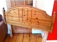 Pine double bed headboard, good quality