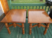 Two solid real wood end tables
