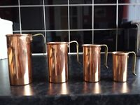 4 Vintage Copper Measuring Cups
