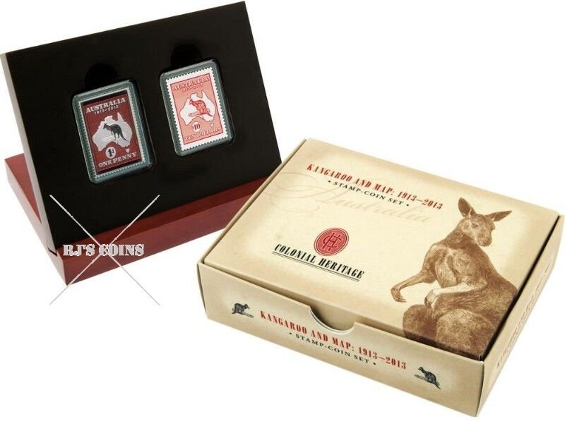 AUSTRALIAN KANGAROO AND MAP STAMP AND COIN SET FROM THE PERTH MINT & AUSTRALIA POST ISSUED IN 2013