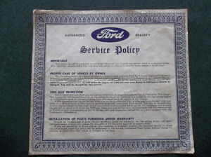 1955 Ford authorized dealer's Service Policy
