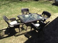 Patio set table chairs chaises