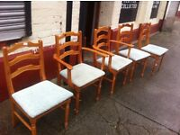 Five pine dining chairs: free Glasgow delivery