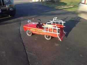Antique child's fire truck pedal car, all metal