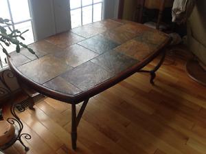 """Table en ardoise et fer forgé (L:52""""; largeur:31""""; H:21"""")"""
