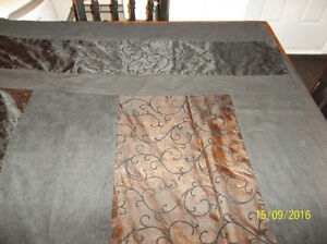 Black curtains with attached valance