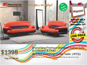 ◆Brand New Leather Sofa+Loveseat+Chair+Coffee Table@NewDirection