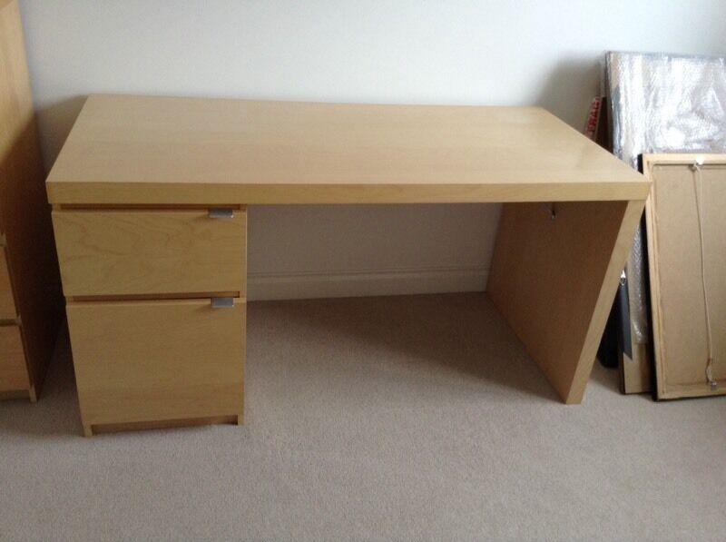 ikea malm desk birch in falkirk gumtree. Black Bedroom Furniture Sets. Home Design Ideas
