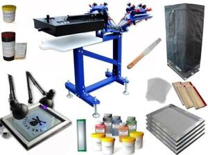 3 Color Screen Printing Kit with exposure unit & Drying Cabinet Vertical Press 006895