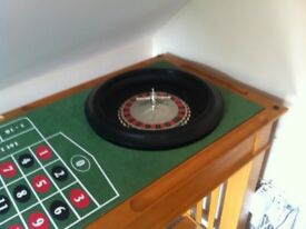 Wooden Roulette and blackjack table