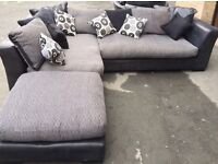 Black/grey/silver right hand corner sofa with swivel cuddle chair and leg rest