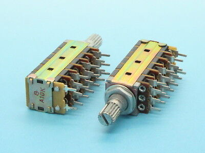 2 X 13mm 6-gang A10k 10k Audio Taper Potentiometer W. Switch 15mm Knurled Shaft