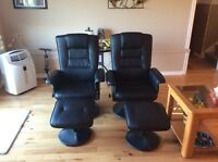 Two (2) Black Faux Leather Recliner & Ottoman