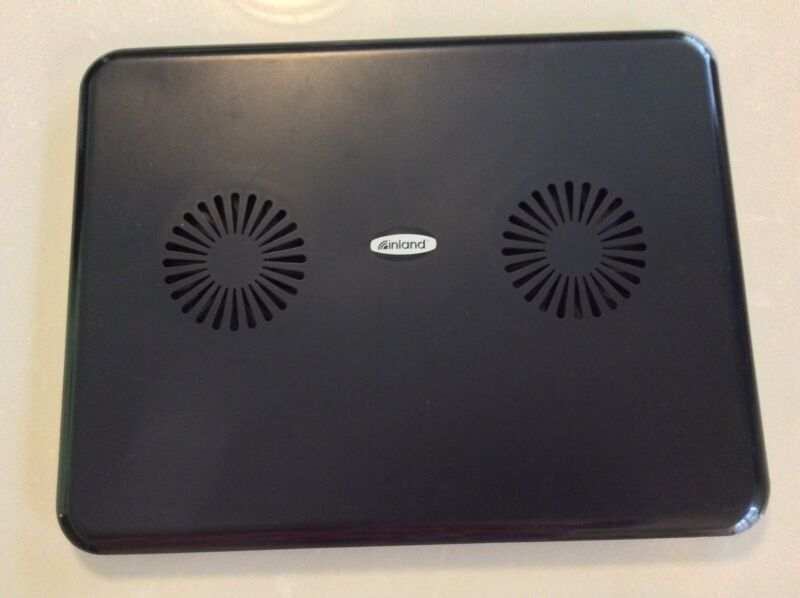 Inland M3303 Notebook Laptop Cooling Pad with 2 Built In Dual Fans Cooler Black
