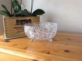 Glass fruit bowl and candle holder