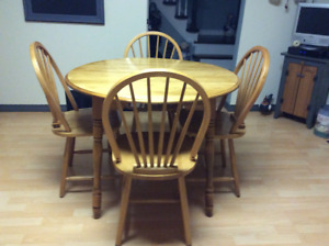 Pure wooden dining room table and chairs