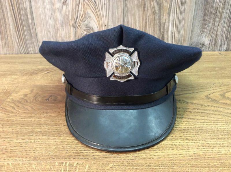 Vintage Fire Dept Dress Hat & Badge Amherst Massachusetts Visor Cap 1950's K1