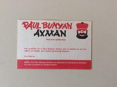 BSA Boy Scouts Vintage Paul Bunyan Axman Pocket Card No. 4235 1981 Printing New