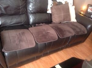 Four brown chair pads